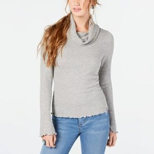 American Rag Ribbed Knit Cowl Neck Top Bell Sleeve
